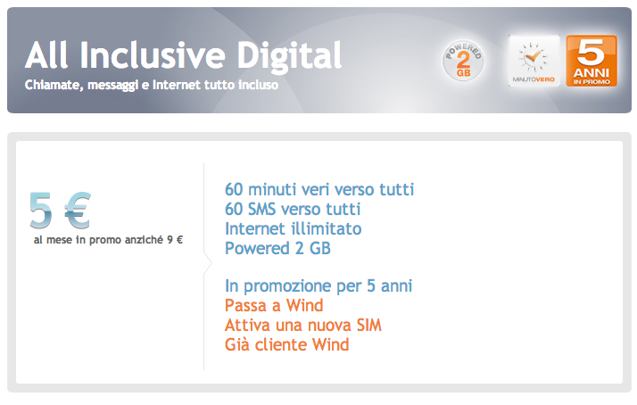 Wind All Inclusive Digital consumatori 5 7 euro