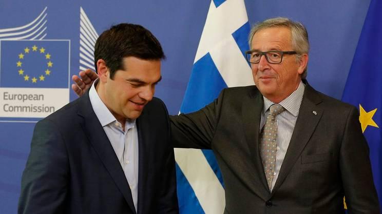 Tsipras e Jean Claude Juncker