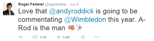 Wimbledon 2015 Tweet Federer