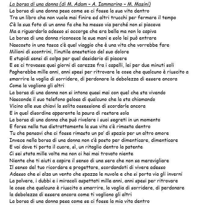 Testi canzoni festival di sanremo 2016 i brani in gara di lorenzo fragola annalisa noemi e - Testo a finestra ...