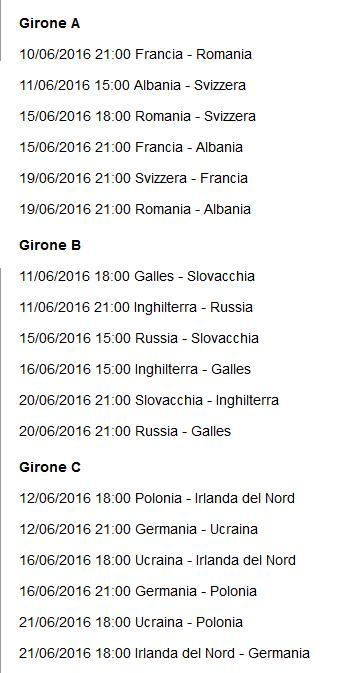 europei 2016 calendario 1