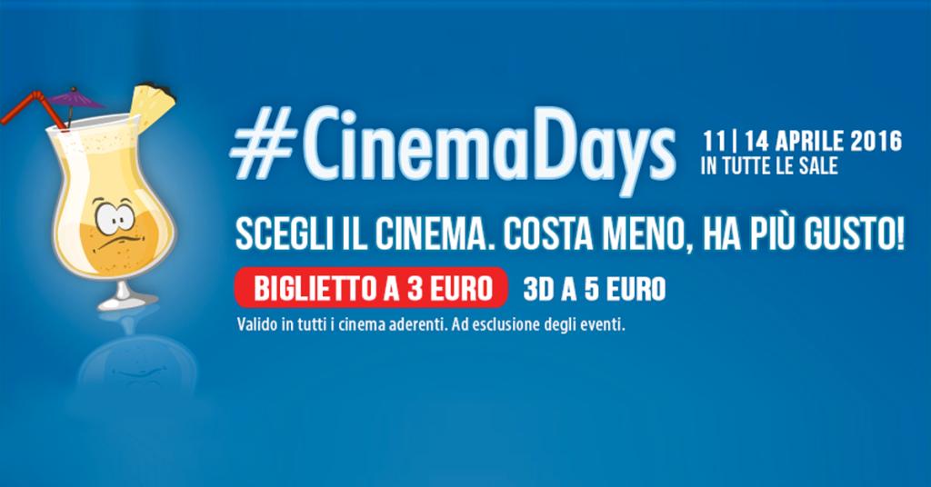 Tornano i CinemaDays, film a 3 euro
