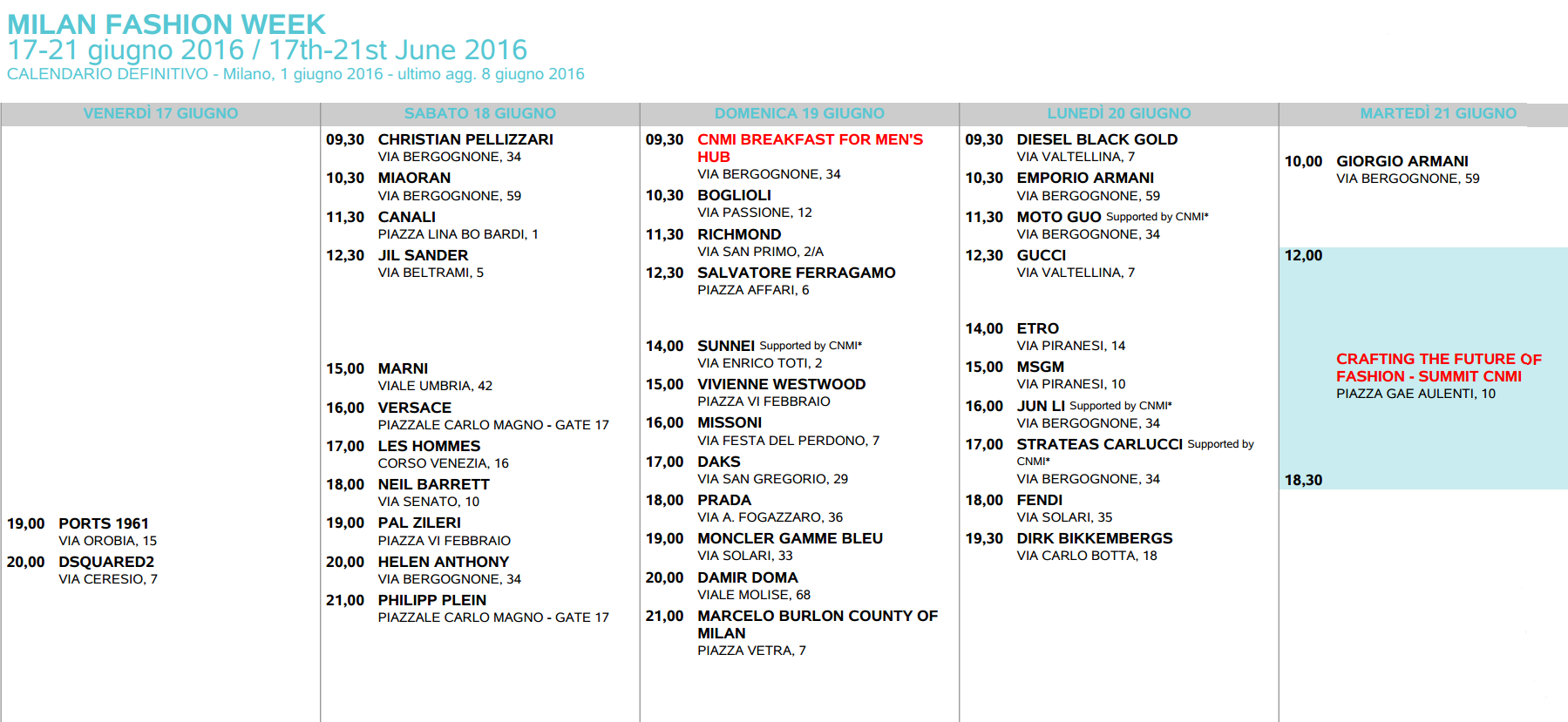 Calendario Milano.Milano Moda Uomo 2016 Calendario Eventi Con Date Orari
