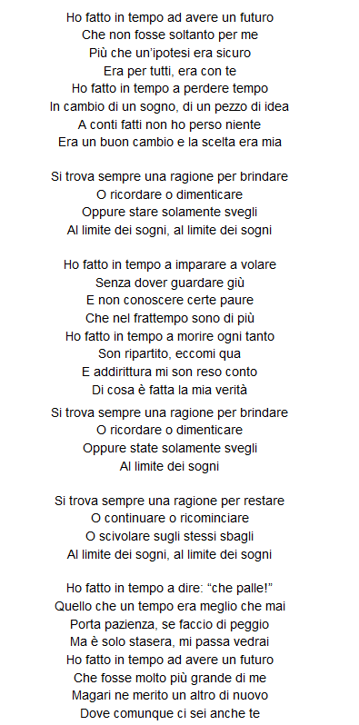 sogno di volare lyrics