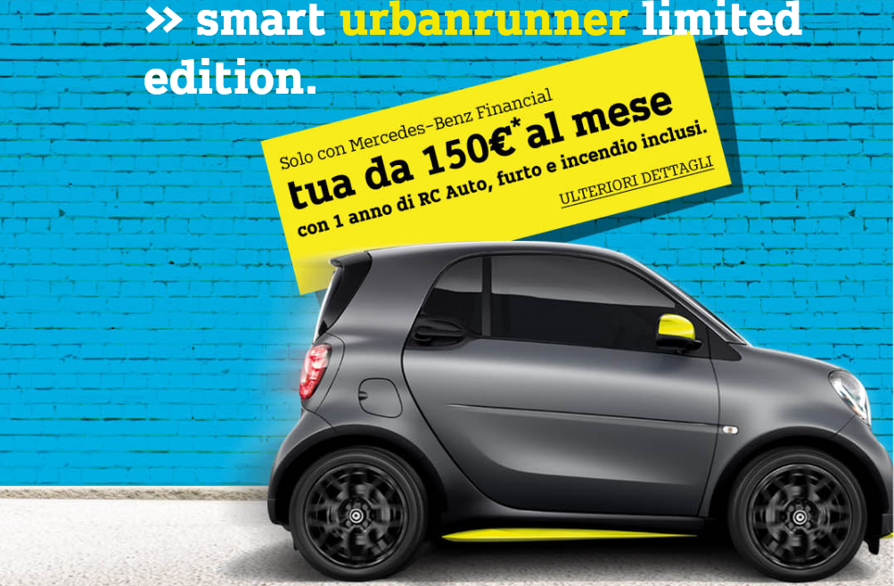 smart urbanrunner 2017 a 150 euro al mese preventivo e test drive prezzo finale con. Black Bedroom Furniture Sets. Home Design Ideas