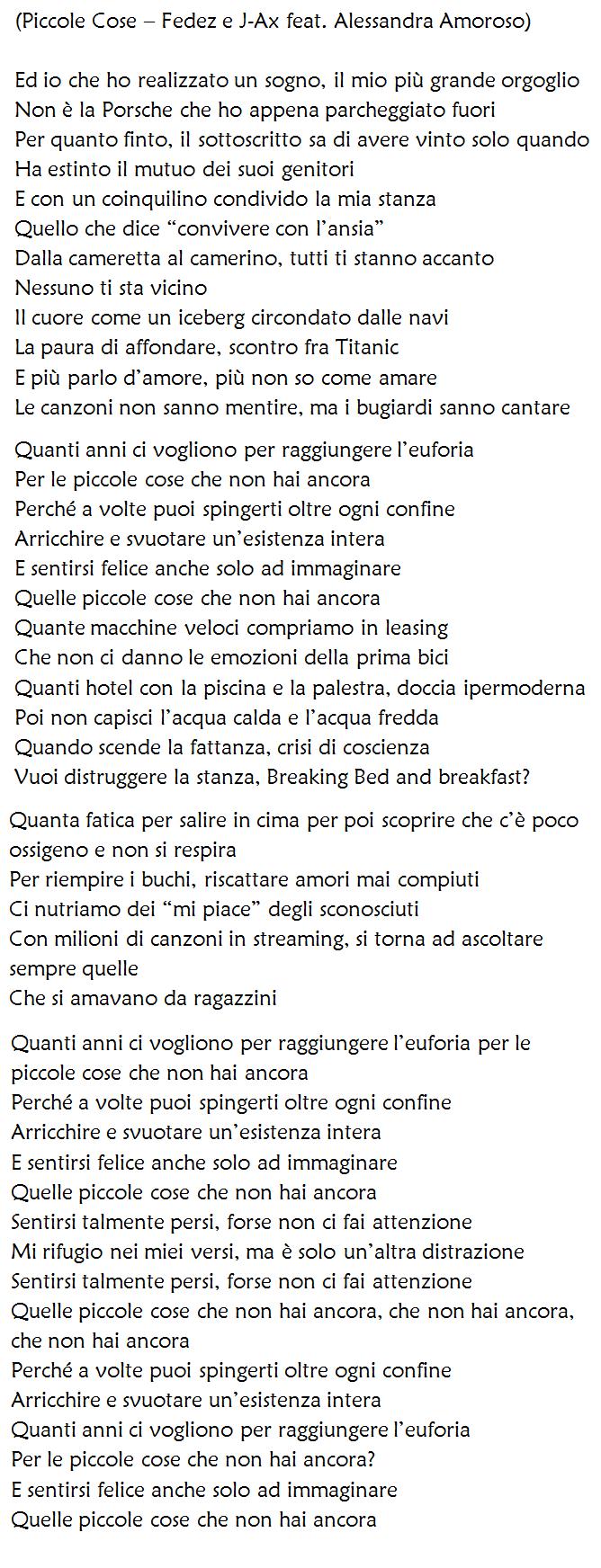 Piccole Cose di Fedez e J Ax, testo e significato del singolo con Alessandra Amoroso dal nuovo album Comunisti col Rolex