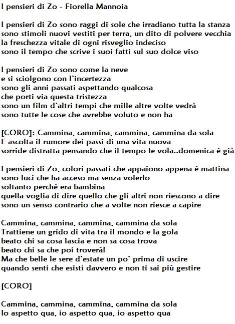 I pensieri di Zo di Fiorella Mannoia, testo e significato: un brano toccante ed intenso scritto da Fabrizio Moro