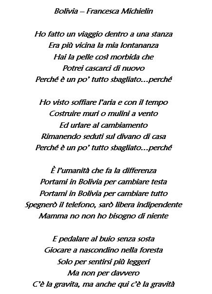 Bolivia di Francesca Michielin, testo e significato: il bran